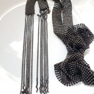 LOGO by Lori Goldstein Necklace Gun Metal Bead Tie